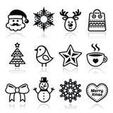 Kerstmis, geplaatste de winterpictogrammen - Santa Claus, sneeuwman Stock Afbeeldingen