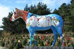 Kerstmis geschilderd die paard met sneeuwmannen, Lemos-Landbouwbedrijf, CA wordt geschilderd Royalty-vrije Stock Foto's