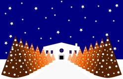 Kerstmis gestileerd huis met Kerstbomen Stock Afbeelding