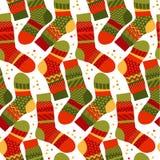 Kerstmis gestreepte sokken in lapwerkstijl Stock Afbeeldingen