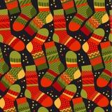 Kerstmis gestreepte sokken in lapwerkstijl Royalty-vrije Stock Fotografie