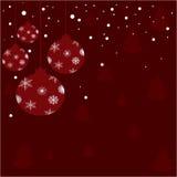 Kerstmis glanzende ballen met sneeuw stock illustratie