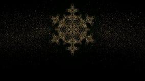 Kerstmis Glanzende Gouden Sneeuwvlok op de donkere achtergrond met de elementen van de vakantiedecoratie Van een lus voorzien gra stock footage