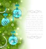 Kerstmis Gloeiende Kaart met Spartakjes Stock Afbeelding