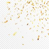 Kerstmis gouden confettien De dalende glanzende confetti schittert in gouden kleur Nieuw jaar, verjaardag, het ontwerp van de val vector illustratie