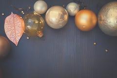 Kerstmis gouden decoratie Royalty-vrije Stock Fotografie
