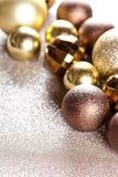 Kerstmis gouden en bruine decoratie royalty-vrije stock fotografie