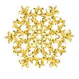 Kerstmis gouden kaart met sneeuwvlok Stock Fotografie