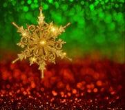 Kerstmis Gouden Sneeuwvlok stock afbeeldingen