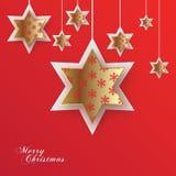 Kerstmis gouden sterren Royalty-vrije Stock Foto's