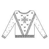 Kerstmis grafische die sweater op wit wordt geïsoleerd Stock Fotografie