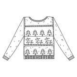 Kerstmis grafische die sweater op wit wordt geïsoleerd Royalty-vrije Stock Afbeeldingen