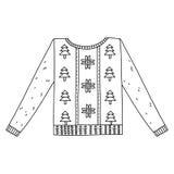 Kerstmis grafische die sweater op wit wordt geïsoleerd Royalty-vrije Stock Fotografie