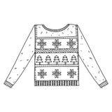 Kerstmis grafische die sweater op wit wordt geïsoleerd Royalty-vrije Stock Afbeelding
