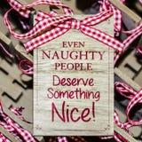 Kerstmis grappig bericht stock foto