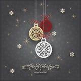 Kerstmis grijze ballen Royalty-vrije Stock Afbeeldingen