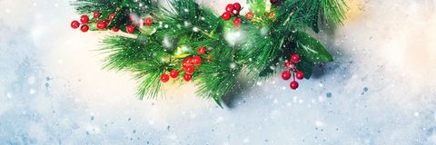 Kerstmis Groene Decoratieve Kroon Holly Berries Stock Afbeeldingen