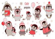 Kerstmis grote reeks met tien leuke pinguïnen en sneeuwvlokken voor nieuw jaar` s ontwerp Stock Fotografie