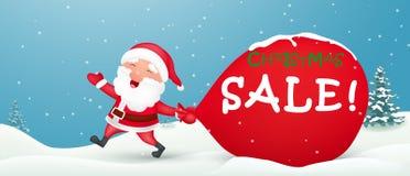Kerstmis grote verkoop met de Kerstman Stock Foto