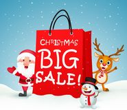 Kerstmis grote verkoop met santa en vrienden Royalty-vrije Stock Afbeelding