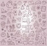 Kerstmis. Hand-drawn pictogrammen Stock Afbeeldingen