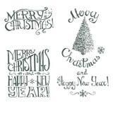 Kerstmis hand het getrokken vector retro van letters voorzien Royalty-vrije Stock Afbeelding