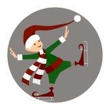 Kerstmis het gelukkige elf schaatsen stock illustratie