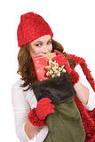 Kerstmis: Het gluren over Kerstmiskous Stock Fotografie