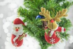 Kerstmis het huidige santa hangen op pijnboomboom Vrolijke Kerstmis en Gelukkig Nieuwjaar Royalty-vrije Stock Foto's