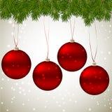 Kerstmis het kleurrijke ballen hangen Stock Afbeelding