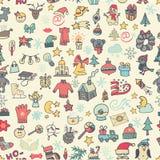 Kerstmis, het nieuwe naadloze patroon van jaarpictogrammen gekleurd Stock Fotografie