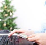 Kerstmis het online winkelen Stock Foto