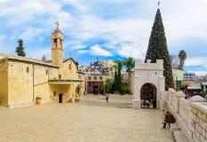 Kerstmis in het Vierkant van Mary goed, Nazareth Stock Afbeelding