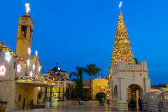 Kerstmis in het Vierkant van Mary goed, Nazareth Stock Fotografie