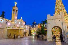 Kerstmis in het Vierkant van Mary goed, Nazareth Royalty-vrije Stock Afbeelding