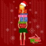Kerstmis het winkelen de vakantieconcept van de Kerstmisverkoop Royalty-vrije Stock Afbeeldingen