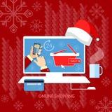 Kerstmis het winkelen van de Kerstmisverkoop van de santahoed de markt van Internet Stock Afbeeldingen