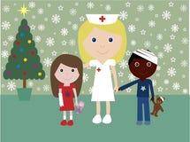 Kerstmis in het ziekenhuis royalty-vrije illustratie