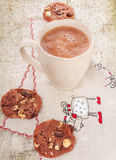 Kerstmis hete cacao met chocoladekoekjes Royalty-vrije Stock Afbeeldingen