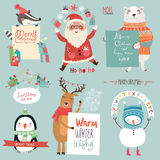 Kerstmis holidsys plaatste met leuke karakters Stock Foto's