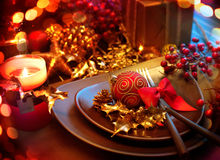 Kerstmis Holliday Table Setting Royalty-vrije Stock Foto's