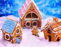 Kerstmis hoogste mening van de peperkoekmens en huis Royalty-vrije Stock Foto's