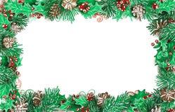 Kerstmis horizontaal kader van pijnboomtakken met kegels en hulst royalty-vrije illustratie