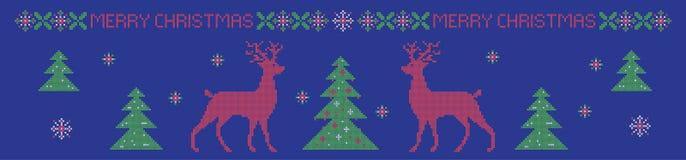 Kerstmis horizontale banner, de dwarsimitatie van het steekpatroon Stock Fotografie