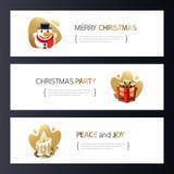 Kerstmis Horizontale die Banners met Goud worden geplaatst stock afbeeldingen