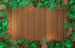 Kerstmis horizontale houten achtergrond met mistletoes Stock Afbeelding