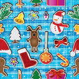 Kerstmis houdt Gelukkige Naadloze Pattern_eps royalty-vrije illustratie