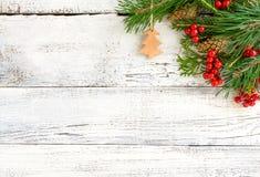 Kerstmis houten achtergrond Stock Afbeeldingen