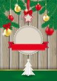 Kerstmis Houten Groene Takjes Royalty-vrije Stock Afbeeldingen