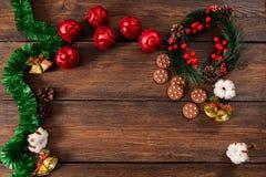Kerstmis houten hoogste mening als achtergrond Royalty-vrije Stock Foto